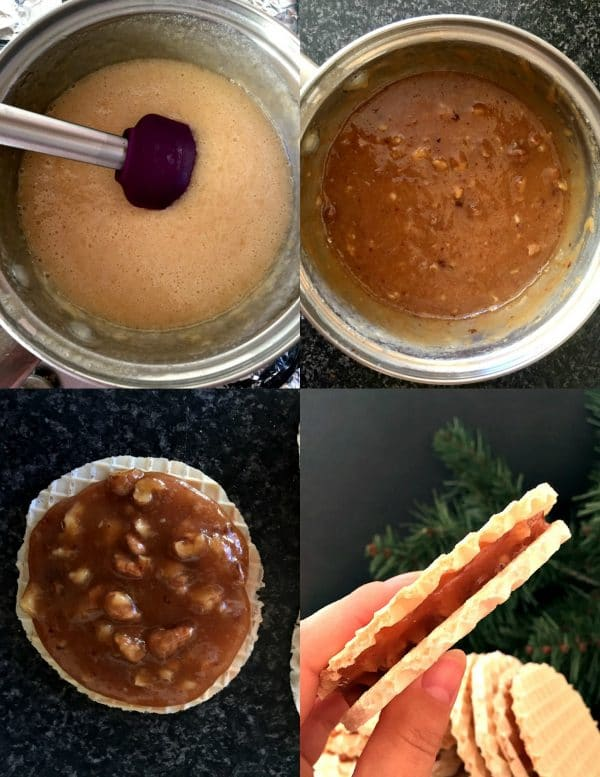 Collage of 4 photos to show how to make caramel wafers