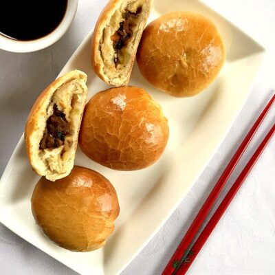 Baked Chinese Buns with Mushroom Filling