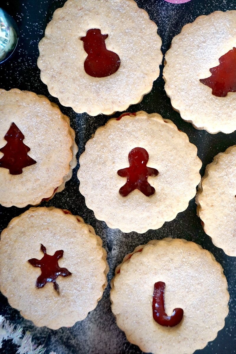Close-up shot of 7 Christmas linzer cookies