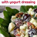 Healthy Waldorf Salad with celery, apples, spinach, grapes and walnuts, amazingly fresh and crunchy. It has a homemade salad dressing made of light Greek yogurt and a bit of mayo, and a good drizzle of lemon juice. The perfect recipe when you want something quick and easy.
