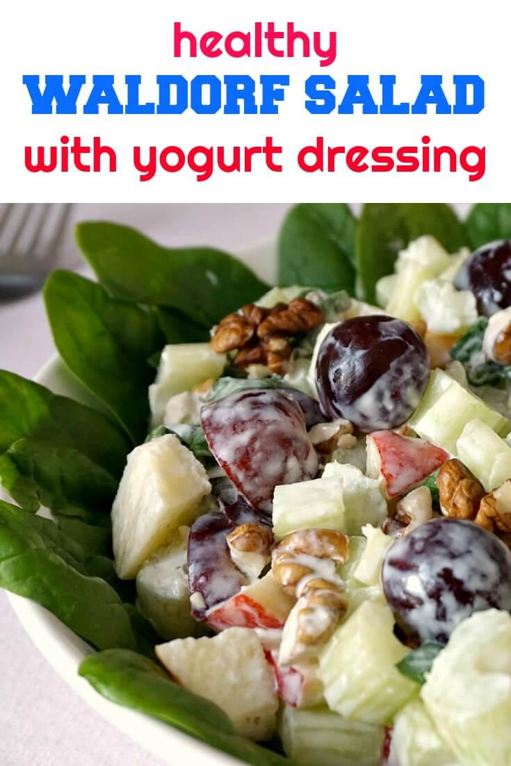 Healthy Waldorf Salad With Yogurt Dressing My Gorgeous Recipes Homemade Bon Celery Apples Spinach Grapes And Walnuts Amazingly Fresh