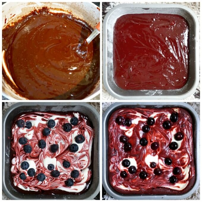 Collage of 4 photos to show how to make red velvet cheesecake swirl browies with blueberries