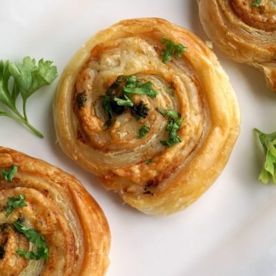 Puff Pastry Pinwheels with Ham and Cheese