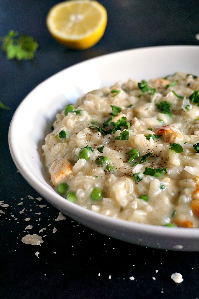 Creamy chicken risotto with peas