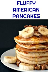Fluffy American Pancakes with walnuts and bananas, and a good squeeze of honey, an indulgent yet healthy breakfast for the whole family to enjoy. Make the occasional treat a habit, these beauties will be ready before you can say pancakes.