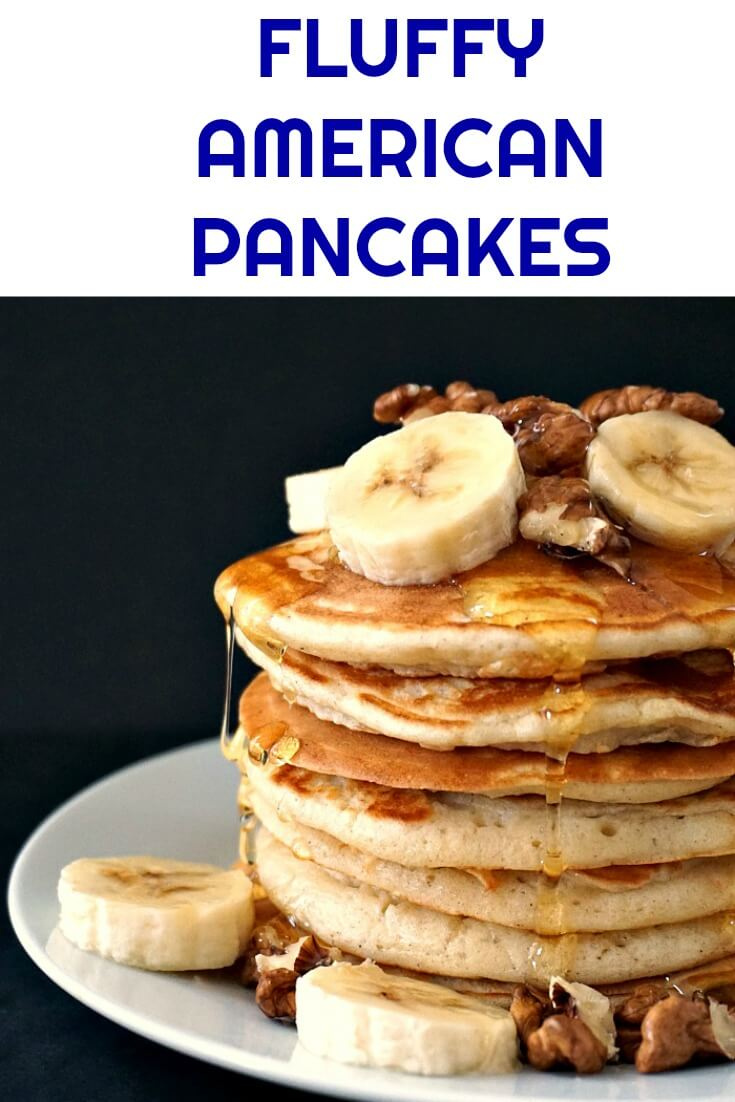 Jamie Oliver's Fluffy American Pancakes with walnuts and bananas, and a good squeeze of honey, an indulgent yet healthy breakfast or brunch for the whole family to enjoy. This is a quick and easy recipe that will go down a treat with the whole family.
