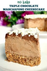 No Bake Triple Chocolate Mascarpone Cheesecake, a rich and overly-indulgent dessert that screams perfection. Great for any party or celebration, this cheesecake is super easy to make and so delicious.