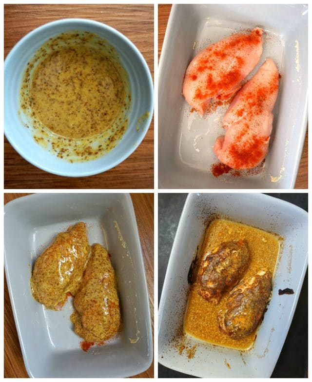 A collage of 4 photos showing how to make honey mustard chicken: the first photo shows and overhead shot of the honey mustard marinade in a light blue small bowl, the second one shows 2 chicken breasts sprinkled with paprika in a dish, the third photo shows the chicken breasts covered in the marinade, and the fourth one shows the cooked chicken breasts.