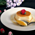 A white plate with flan without condensed milk