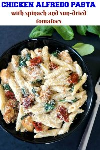 Chicken Alfredo Pasta with Sun-Dried Tomatoes and Spinach, a delicious dish ready in just 30 minutes. Rich and creamy alfredo sauce, tender garlicky chicken and nutritious sun-dried tomatoes and spinach; this it dinner taken to the very next level.