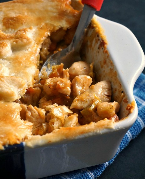 Homemade chicken pot pie recipe with leeks