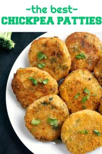 Chickpea Potato Broccoli Patties, scrumptiously golden, and so addictive. Great as an appetizer, and one of those healthy snack recipes kids love. Why not have one in between meals, or take some on a picnic. They are so easy to make, you'll never buy ready-made patties again.