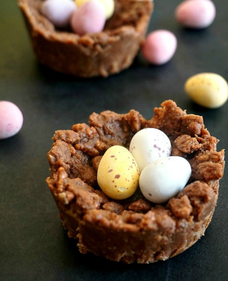 Chocolate rice krispie Easter egg nests