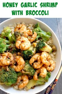 Healthy Honey Garlic Shrimp with Broccoli, a super healthy stir fry that is packed with fantastic flavours. Quick and easy to make, perfect for a midweek dinner for two.