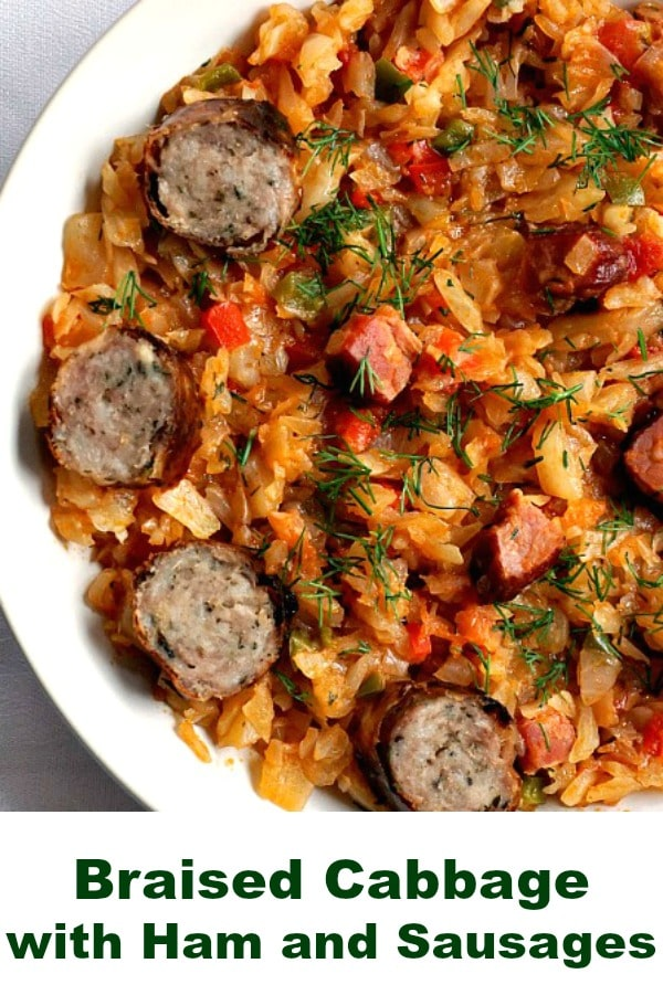 Braised Cabbage with ham and sausages, a traditional Romanian dish and definitely one of the tastiest too. My kind of comfort food, no matter the season. Healthy, flavourful and easy to make.