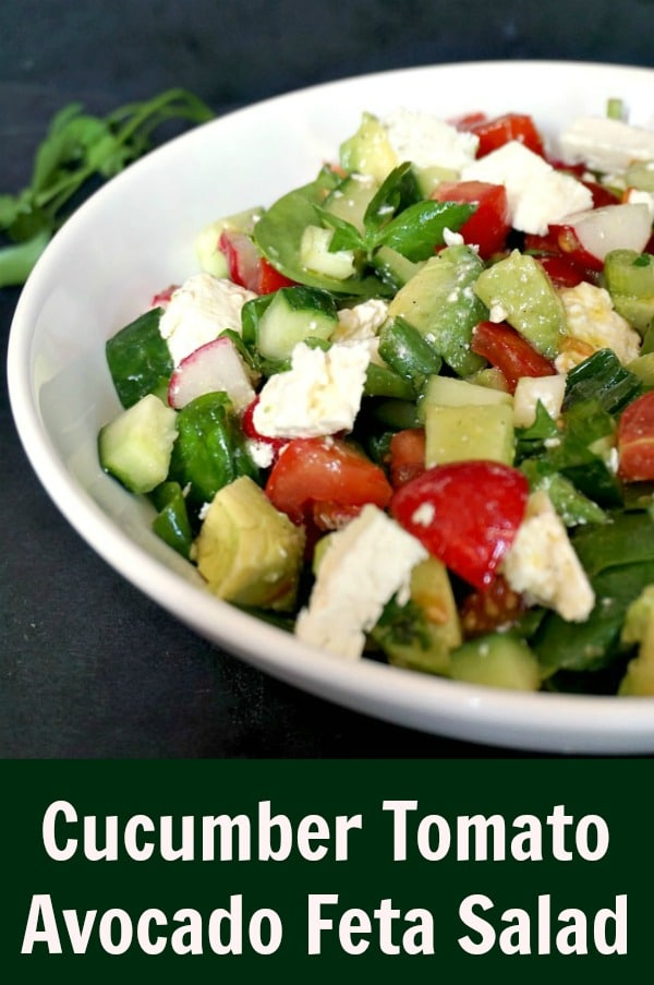 Cucumber Tomato Avocado Feta Salad, a healthy and easy to prepare salad that can be enjoyed no matter the season. A keto-friendly recipe, vegetarian, it can be made vegan by omitting the cheese. Low calories, low carb, this salad is so yummy.