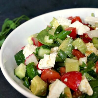Cucumber Tomato Avocado Feta Salad Recipe
