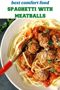 Spaghetti with meatballs,one of my favourite Italian dishes, and without a shadow of a doubt one of the best ever dish l have cooked. Comforting, super easy to make, and so delicious!