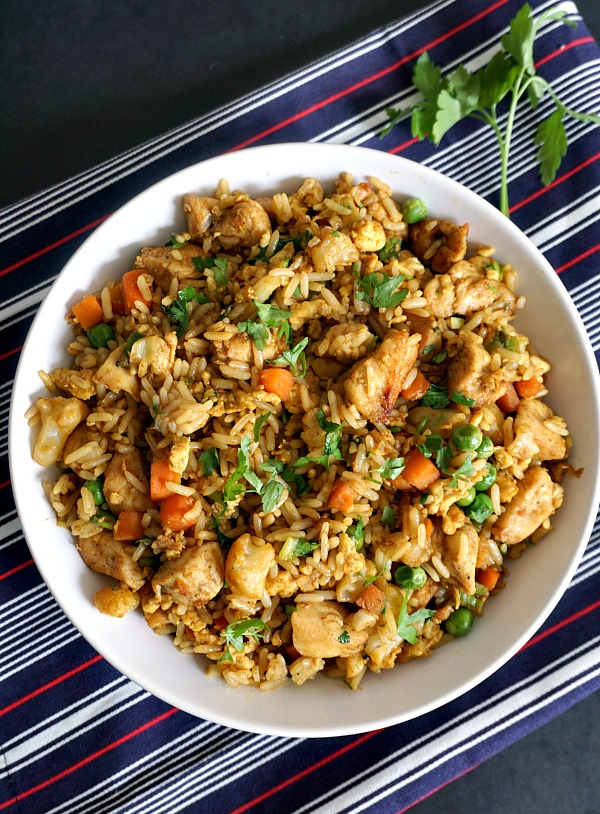 Healthy chinese chicken egg fried rice recipe my gorgeous recipes overhead shot of a white plate of chicken egg fried rice forumfinder Gallery