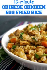 Healthy Chinese Chicken Egg Fried Rice, the easiest, quickest, and tastiest way of using up leftover rice. A delicious dinner can be ready in 15 minutes, and what a dinner! No need for take-away tonight, we've got Chinese at home! Healthy, filling, yummy, this is the best Chinese recipe.