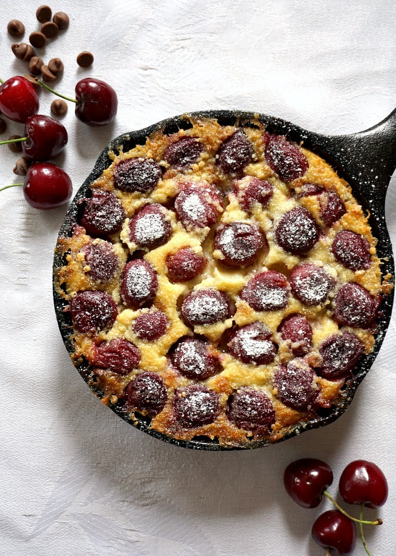 Overhead shoot of a pan with clafoutis