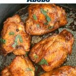 Filipino Chicken Adobo, a delicious chicken recipe that is super easy to make with just a few ingredients. Serve it with rice, salad or any other side of your choice, and enjoy the best homemade dinner tonight. A keto, low-carb, high-protein, low-cal, super healthy recipe that will make you lick your fingers clean.