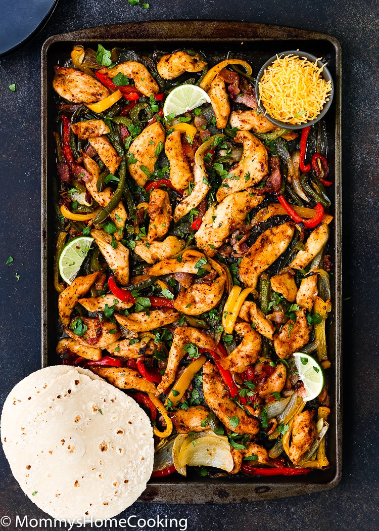 One-Sheet Pan Barbeque Bacon Chicken Fajitas
