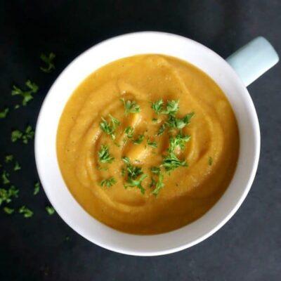 Spiced Sweet Potato Red Lentil Soup