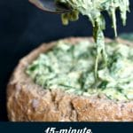 We are not talking about any appetizer here, but about THE appetizer everybody loves: simple spinach and artichoke dip recipe. Cheesy, hot, served in a bread bowl, ready to be the star of any party.