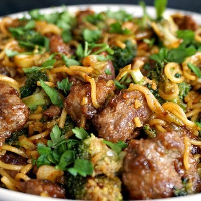Chinese Broccoli and Beef Noodles Stir Fry