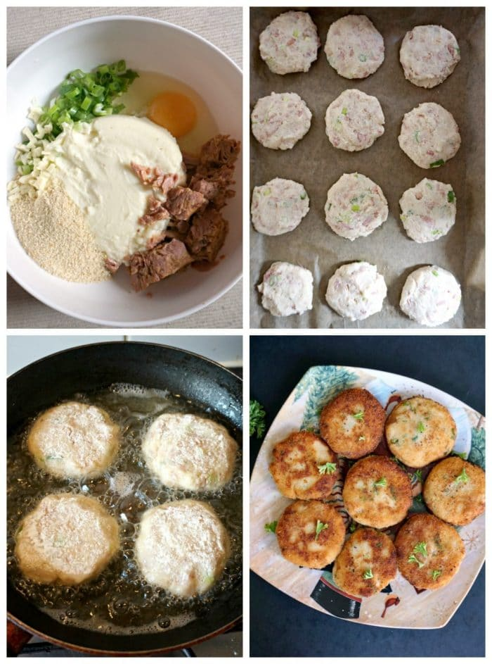 A collage of 4 photos to show how to make tuna and potato patties