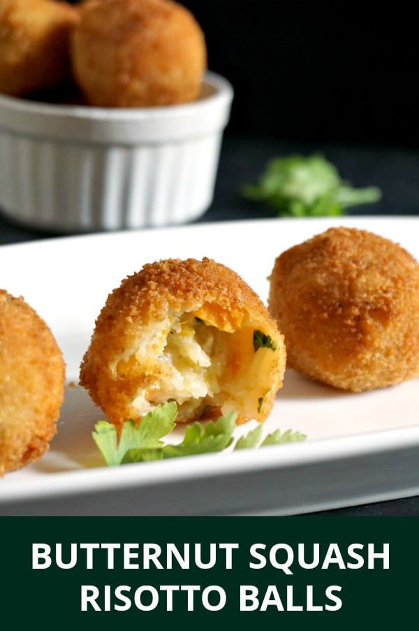 Butternut Squash Riotto Balls, the Italian Arancini, are a great choice when it comes to easy appetizers for parties. They make a nice, mess-free finger food to please a crowd. A great Thanksgiving appetizer.