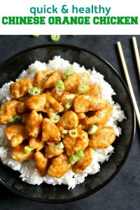 Healthy Chinese Orange Chicken, one of my top 10 Chinese dishes that l could have any time. Tender chicken coated in a zesty orange sauce and garnished with spring onions. Ready in well under 15 minutes. Serve it with rice, and you have the most delicious dinner recipe.