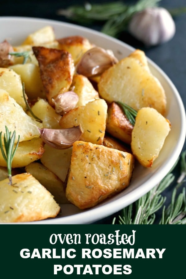 Oven Roasted Garlic Rosemary Potatoes, a healthy side dish after my own heart. Great with any roast, these roasted potatoes will make your meal a happy place.