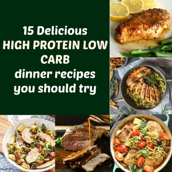 Collage of high protein low carb dinner recipes