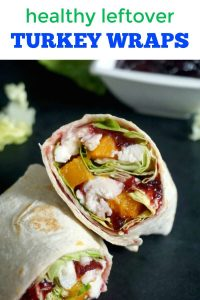 Healthy Leftover Turkey Wraps with cranberry sauce and butternut squash, a fantastic way of using up food that might otherwise go to waste after a big feast like Thanksgiving, Christmas or Sunday Roast. It only takes 5 minutes to put together.