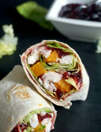 A halves of leftover turkey wraps