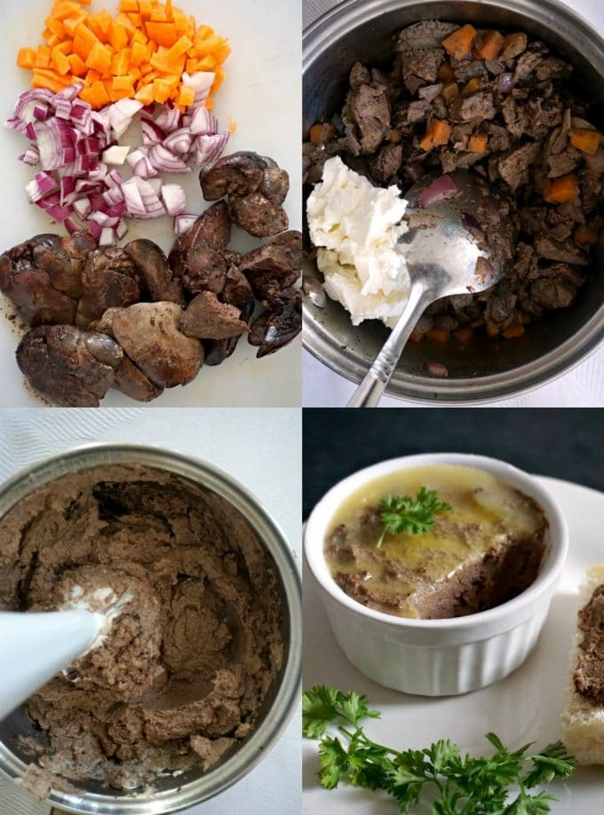 Collage of 4 photos to show how to make chicken liver pâté