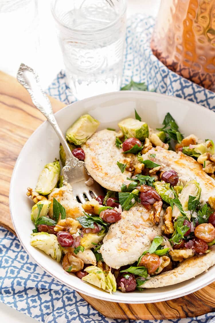 Roasted Brussels Sprouts & Grapes over Tender Chicken Dinner