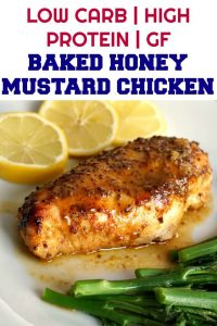 Baked Honey Mustard Chicken Breast with a touch of lemon, an absolutely delicious, low-carb and healthy meal for two. Serve it with broccoli spears or any other veggies of your choice. There is hardly any preparation needed, and you get some moist chicken breasts cooked in a super tasty honey mustard marinade.