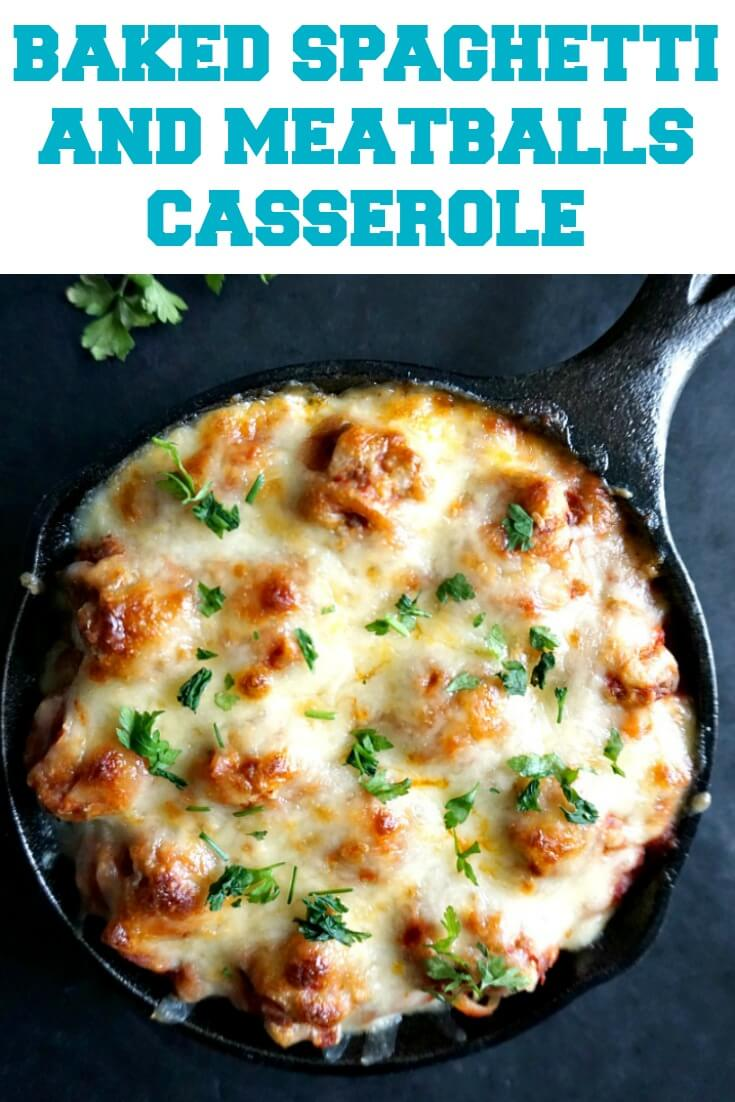 Homemade Baked Spaghetti and Meatballs Casserole with ground turkey, mozzarella cheese and fresh parsley, a comforting dish fit for a king. It's a great choice for a family dinner. Cheesy, hot, just perfect. This is what comfort food looks like.
