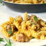 One-pan butternut squash sausage pasta, a cheap and easy family dinner. A few simple ingredients can go a long way.