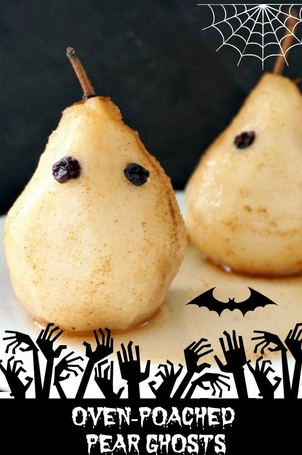 Oven-poached pear ghosts with cinnamon and maple syrup, a healthy Halloween recipe that will go down a treat with the whole family.