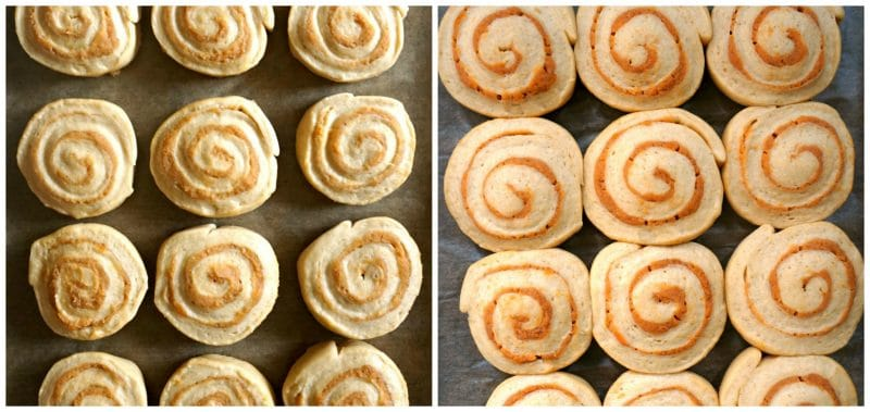 Collage of 2 photos to show how the pumpkin cinnamon rolls needs to look after the second proofing