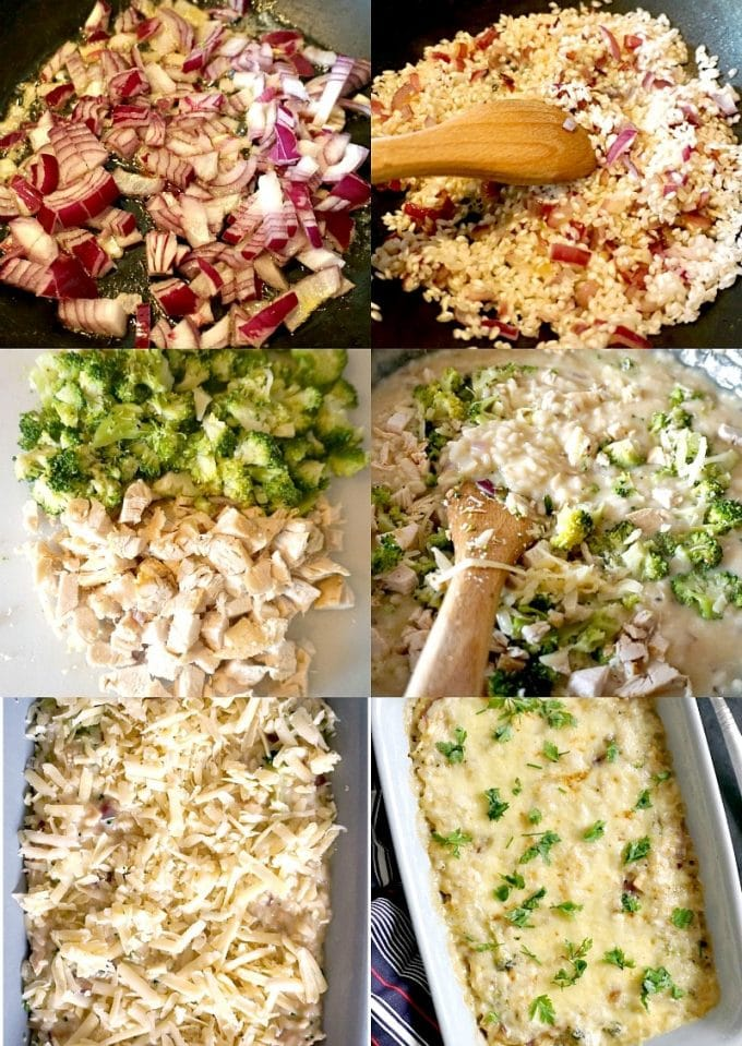 Collage of 6 photos to show step-by-step instructions how to make rice casserole