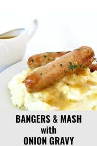 Bangers & Mash with onion gravy, a true British classic that pretty much sums up what comfort food is all about. Filling, absolutely delicious, this dish is a big hit with everyone in the family, especially the little ones.