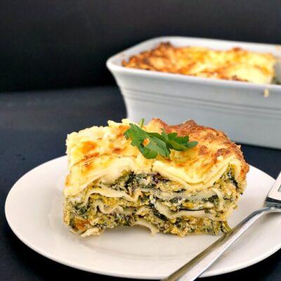 Healthy Butternut Squash Spinach Lasagna