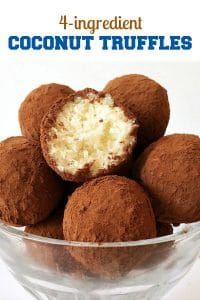 No-Bake Coconut Balls, a sweet bite-size treat not only for your better half, but also for friends and family. Just 4 ingredients, and you have the perfect recipe to win anybody's heart. A great dessert for any party.