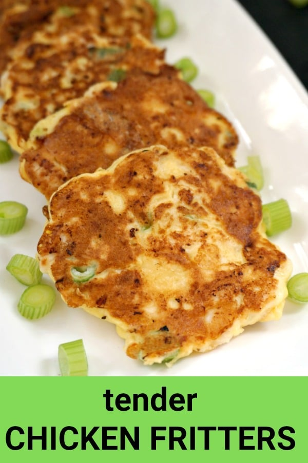Tender Chicken Fritters, a delicious and healthy appetizer that can be enjoyed by the whole family. Ready in well under 30 minutes, super easy to make.