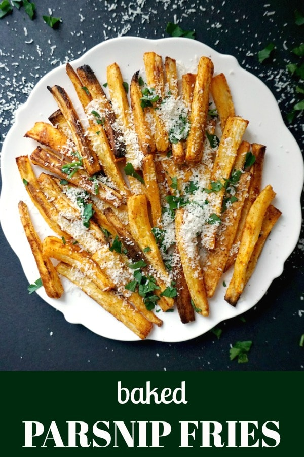 Healthy Baked Parsnip Fries, a great side dish alternative to the good old potato fries. With a nice blend of paprika, parmesan, parsley, garlic powder, salt and pepper, plus a dash of olive oil, these parsnip fries are simply delicious.
